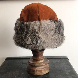 Vintage fur and suede winter hat